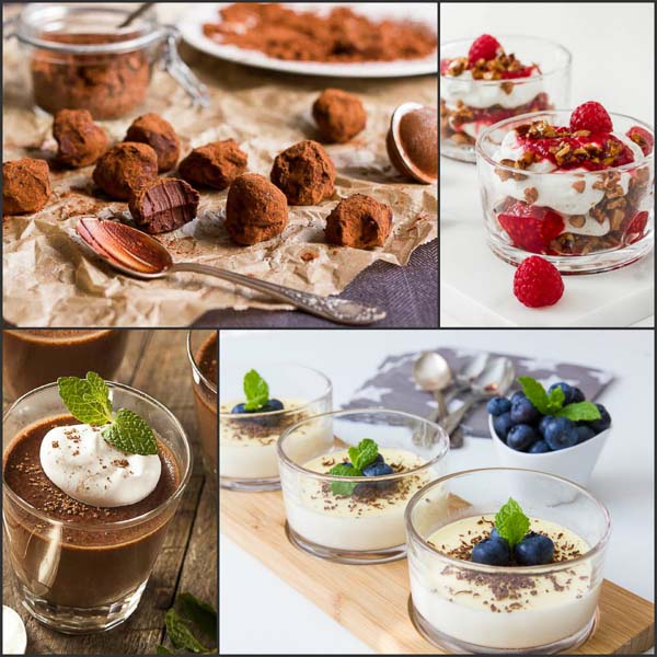 deserturi low carb high fat lchf, panna cotta, mousse de ciocolata, cheesecake la pahar si trufe de ciocolata cu mascarpone