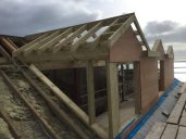 Roof ladders on ready for fascia and sofet