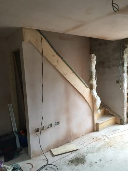 Stud walls plaster boarded and skimmed