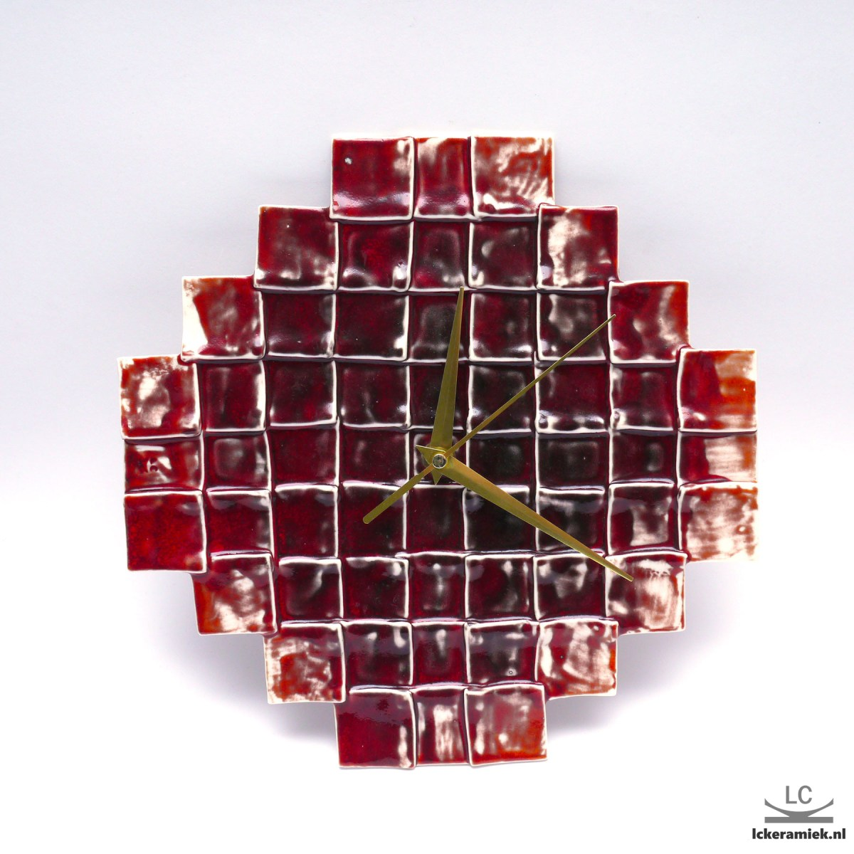 Wandklok Rode Vierkanten