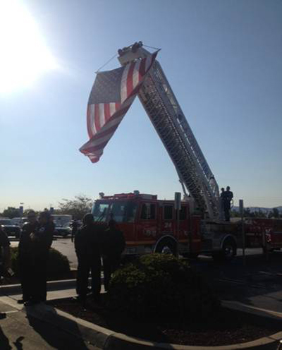 The American Flag flies proudly from an engine of the Los Angeles County Fire Department.
