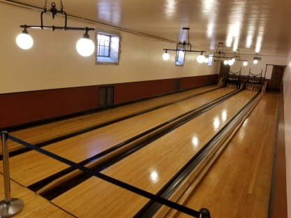 2-lane bowling alley was enjoyed by family and friends.