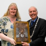 Jane Lines of Chorley PS accepting the Tansley Shield for Monochrome Prints