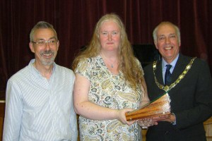 NCPS Challenge Print Trophy: (l-r) Rob Hockney - NCPS President, Jane Lines - Chorley PS Comp Sec, Garth Tighe - President of the L&CPU