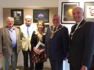 L&CPU President Garth Tighe, CPAGB with the Mayor of Hyndburn Councillor Peter Britcliffe, The Mayoress Ms Sara Britcliffe, Accrington Camera Club President Ian Kitchin LDPS, and Vice-President Harry Emmett, CPAGB