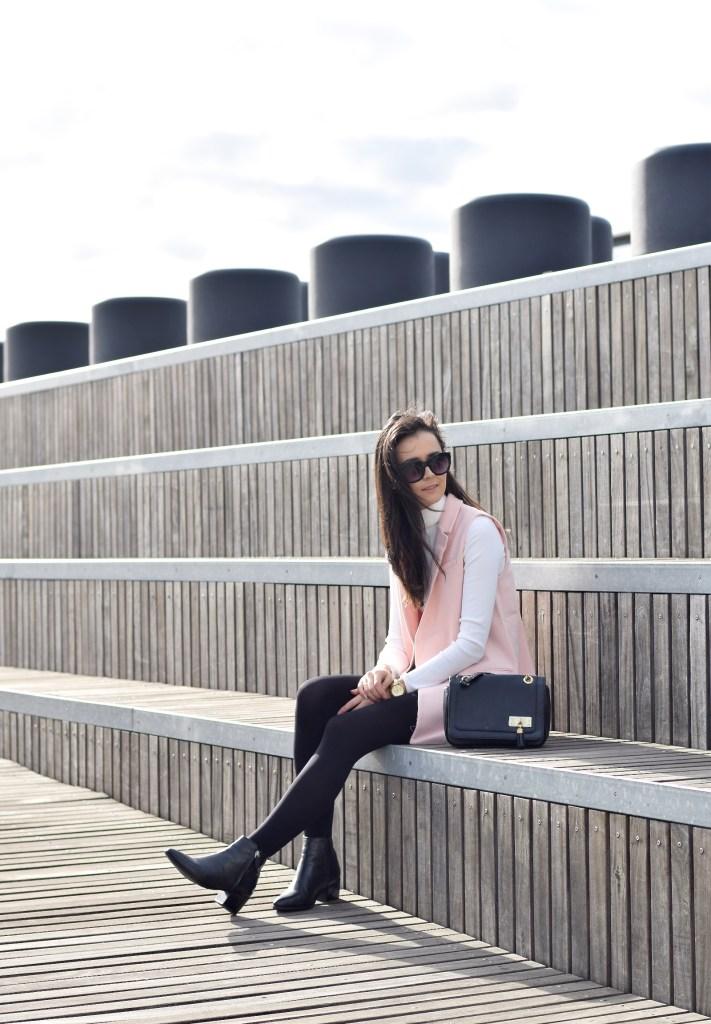 Pink Sleeveless Blazer 1