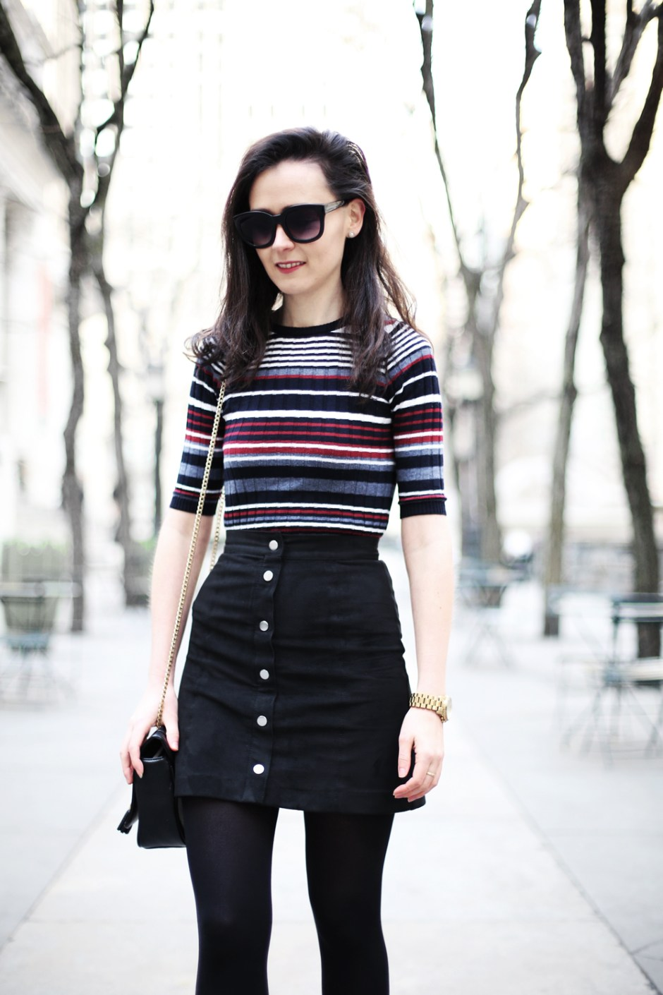 Stripe Top and Button Up Skirt 2