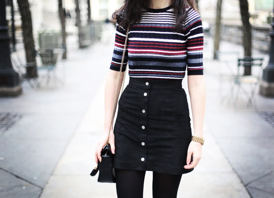 Stripe Top and Button Up Skirt 7