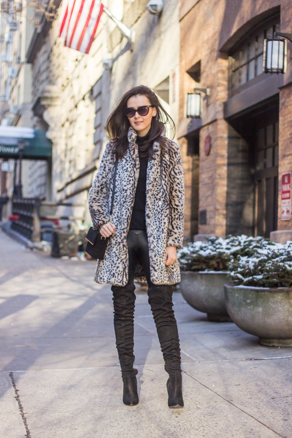 NYC Blogger: faux fur coat and over the knee boots 12