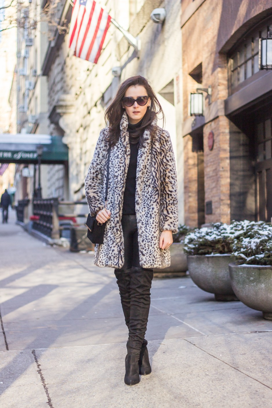 NYC Blogger: faux fur coat and over the knee boots 6