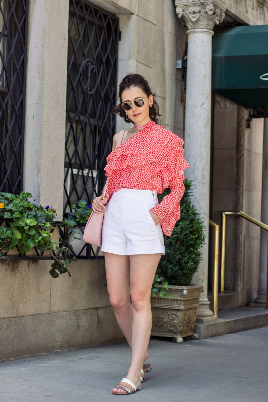 NYC Blogger: Off the shoulder print top 5
