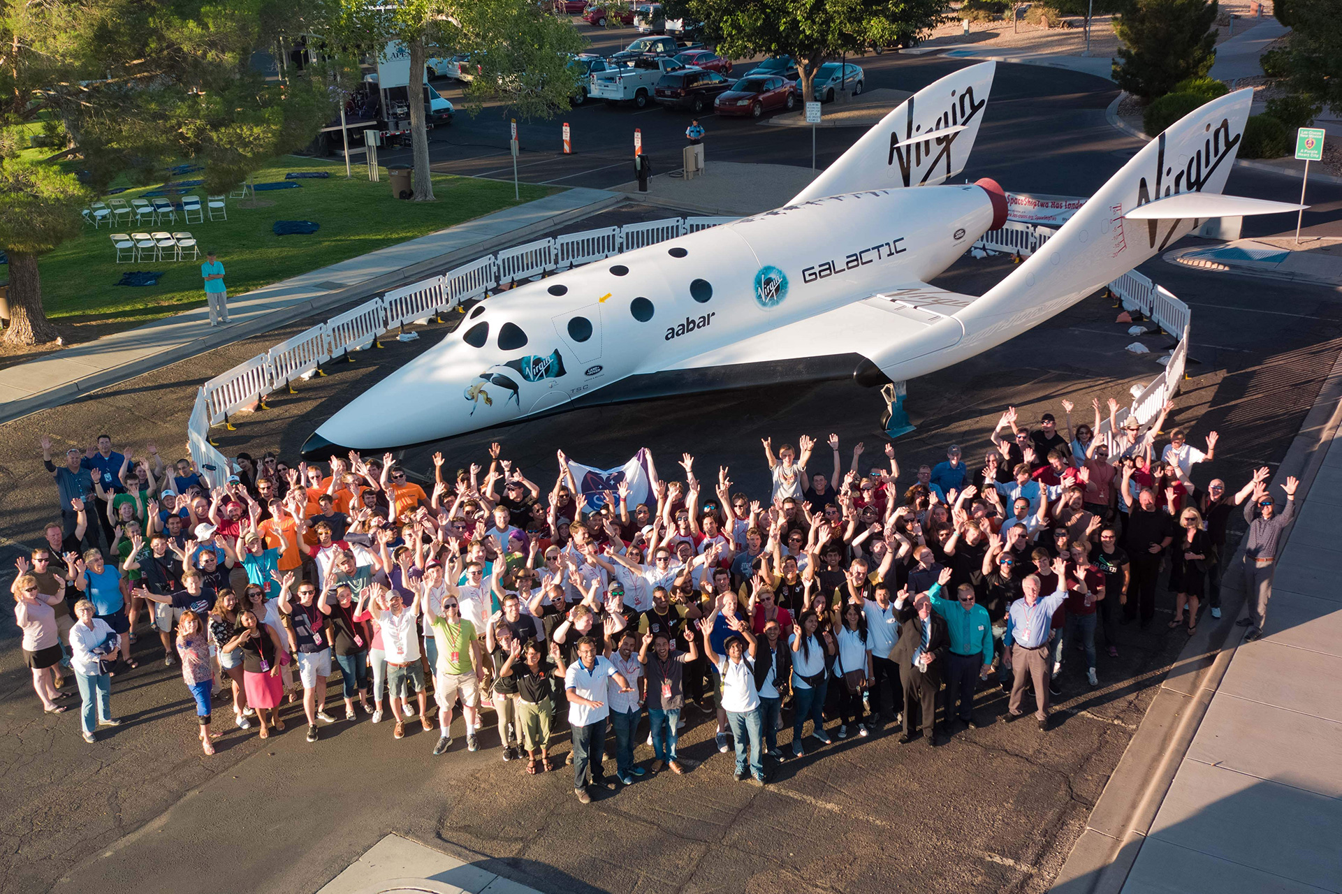 Aerial group photo of Las Cruces Space Festival attendees in front of Spaceship Replica
