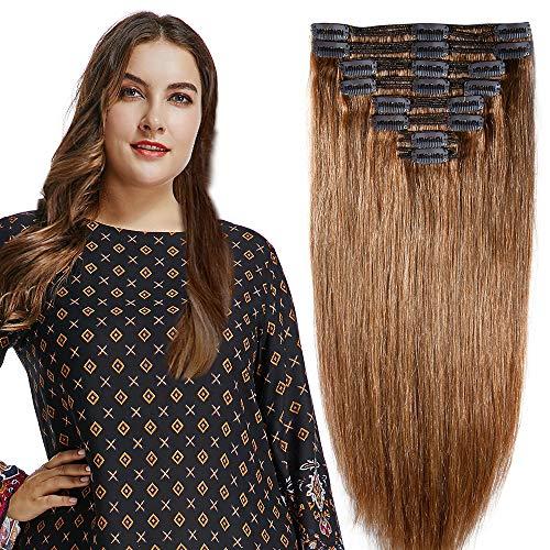 25-55cm 110g-160g Double Weft Extension Capelli Veri Clip Testa Completa - 100% Remy Human Hair Capelli Naturali (25cm-110g, 06# Castano Scuro)
