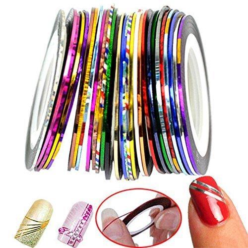 30 adesivi a colori per unghie unghie a strisce decorative