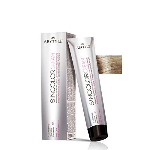 Ab Style | Sincolor Cream colore permanente professionale per capelli in crema ad ossidazione, biondo chiarissimo cenere 9.1(100ml)