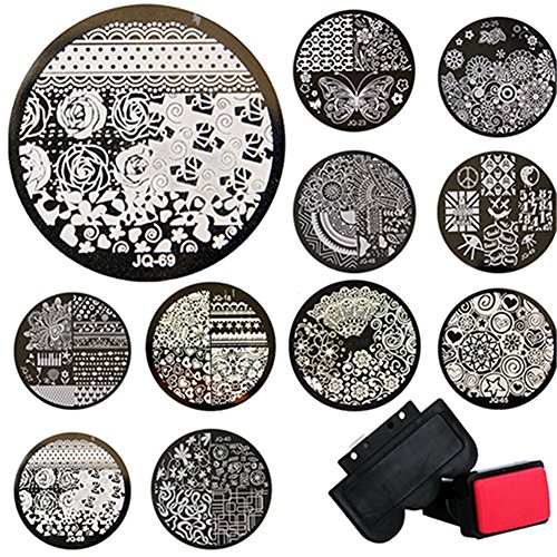 Birdsound 10pz piatti rotondi in metallo + Stamper + scraper stamping kit fai da te nail Tools