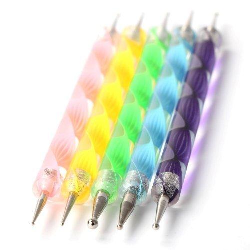 f-eshion Astuccio di accessori di manicure/pedicure di per Nail Art: Kit/Set di 5doppie punte a decorazione per le unghie