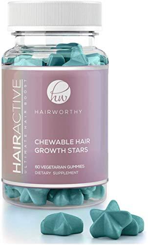 Hairworthy - Masticabile ad azione rapida crescita capelli vitamine. Integratore naturale per più capelli con olio di cocco, Biotina e acido folico.