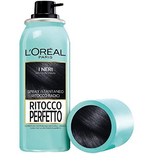 L'Oréal Paris Ritocco Perfetto Spray Ritocco Radici, Colorazione Ricrescita, Copre i Capelli Bianchi e Dura 1 Shampoo, 1 Nero, 75 ml