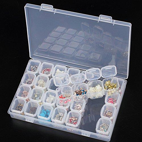 Organizer in plastica trasparente con 28 scomparti, interno rimovibile, scatola per accessori nail art e gioielli, per strass, perline, orecchini, collane, per diamond painting