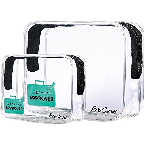 ProCase TSA Approvato Chiaro Borsa da Toilette Viaggio, Quart Dimensione Cerniera Organizzatore Linea Aerea Conforme Borsa Bagaglio a Mano per Liquidi Creme Gel 3-1-1 Kit (Set di 2, Grande + Piccolo)