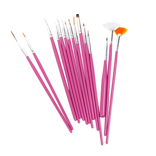 Set 15 pennelli per Nail Art Design rosa
