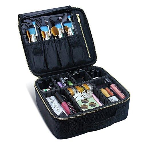 Travelmall, borsa per cosmetici professionale da viaggio a 3 livelli, regolabile, con tracolla, per trucchi, attrezzi da parrucchiera, nail art, con trolley Gold Black