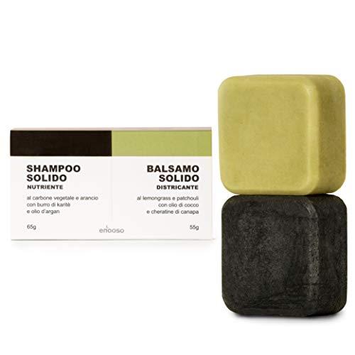 Shampoo Solido Bio e Balsamo - Enooso - 100% Artigianale Biologico Naturale Vegano - Made in Italy