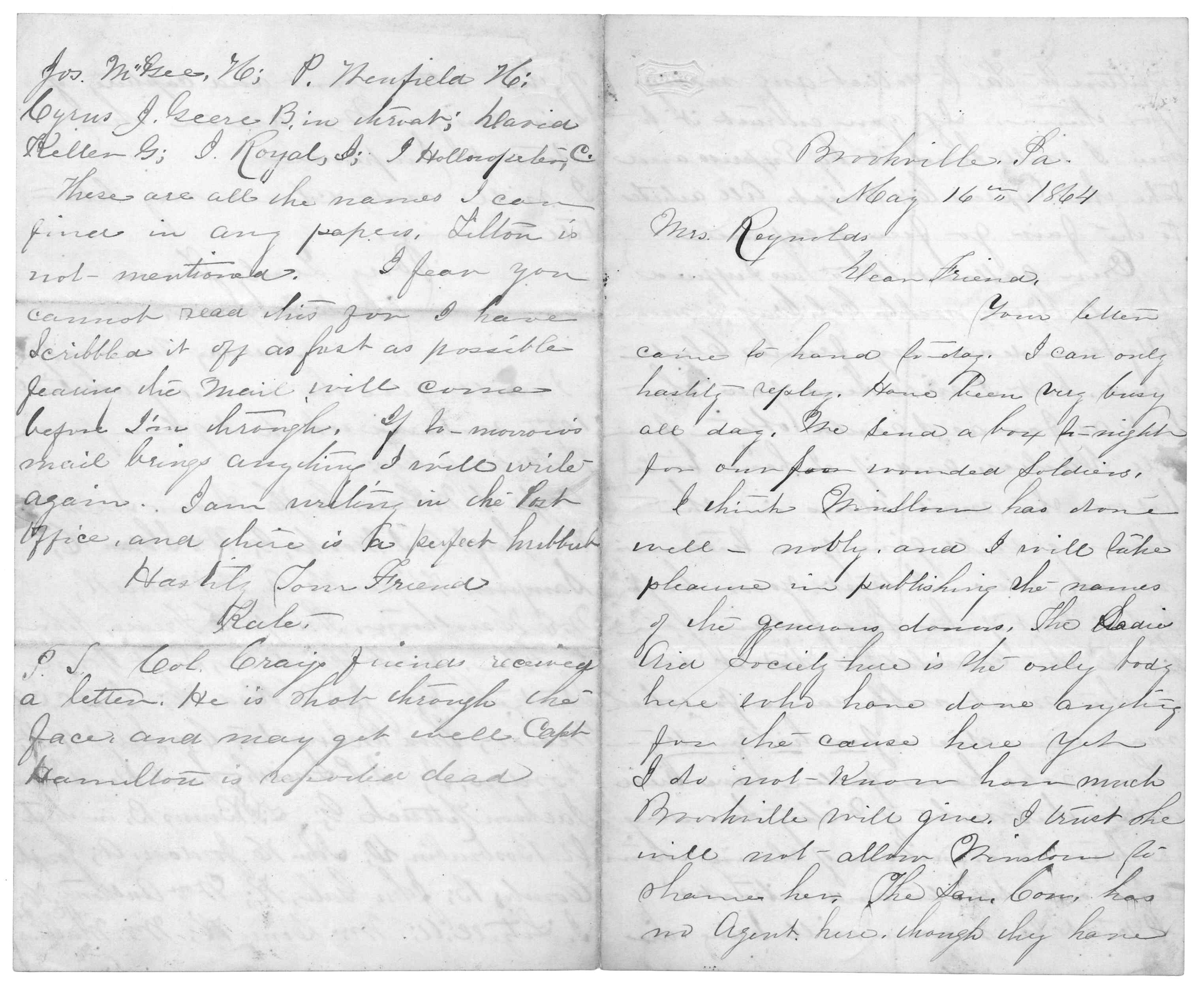 Letter From Kate M Scott To Juliana Smith Reynolds May
