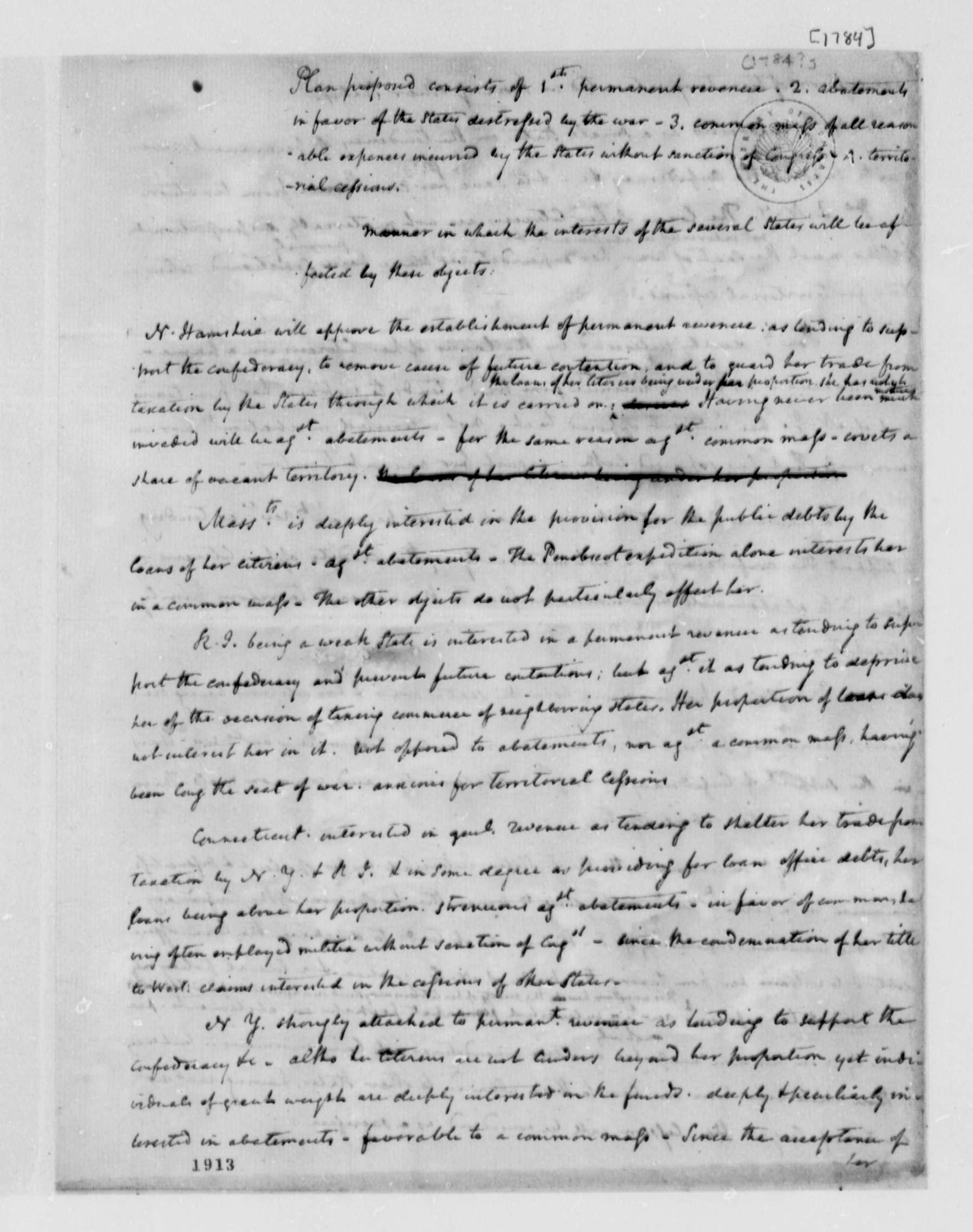 James Madison Memorandum On Plan For Permanent Revenue Affect On States