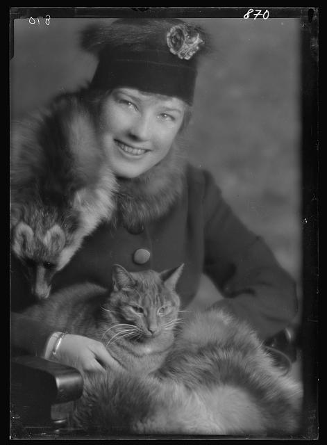 Campbell, Natalie, Miss, with Buzzer the cat, portrait photograph