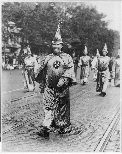Dr. H.W. Evans, Imperial Wizard of the Ku Klux Klan, leading his Knights of the Klan in the parade held in Washington, D.C.