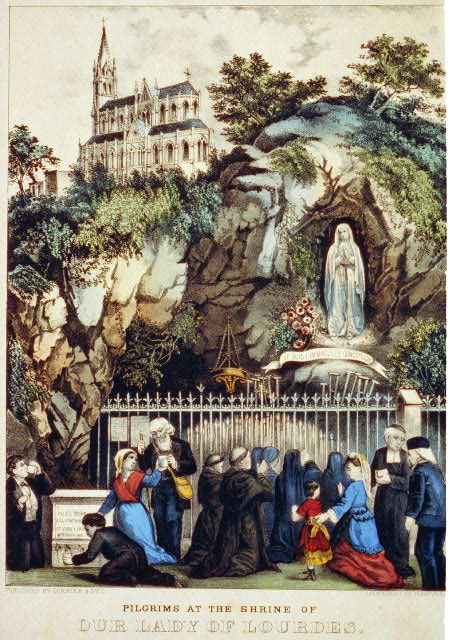 Pilgrims at the Shrine of Our Lady of Lourdes