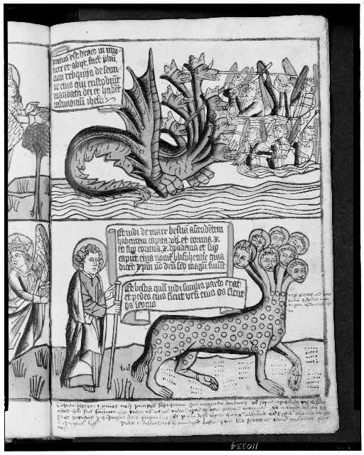 [From the Revelation of John: (12:3-12:7) Michael and his angels fighting a seven-headed dragon, and (13:1-13:2) Saint John seeing a similar seven-headed beast that looked like a leopard rising out of the sea]