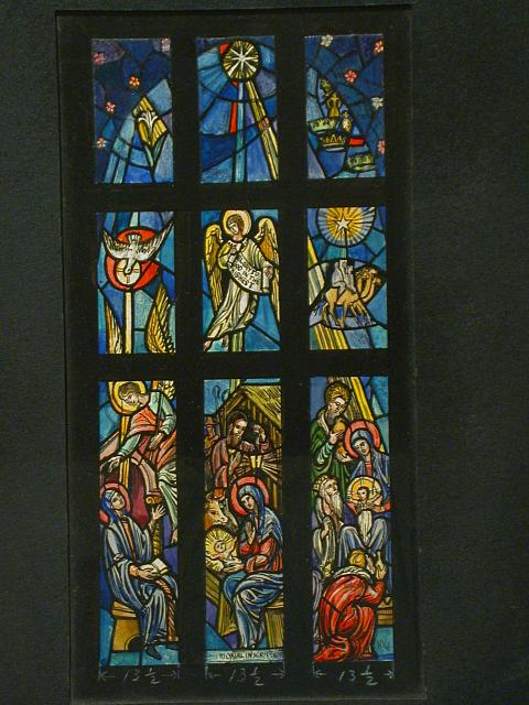 """[Design drawing for stained glass memorial window with elaborate Nativity scene and text """"Glory to God in the Highest""""]"""