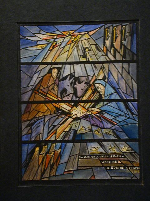 """[Design drawing for stained glass window with abstracted, fragmented Nativity with text """"For Unto Us a Child is Born...""""]"""