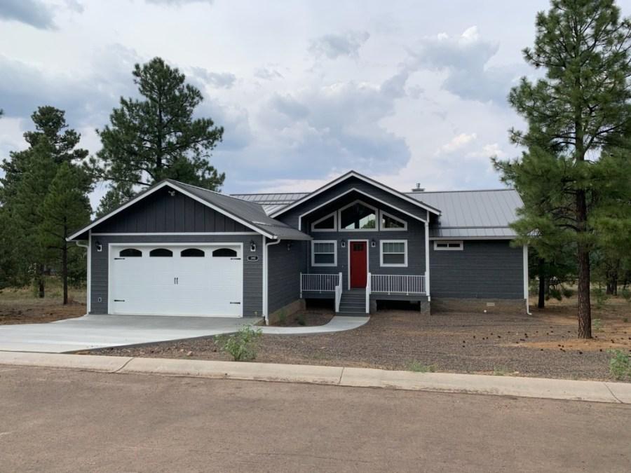 Custom Home - Grey Lap Siding - Smoke Grey metal roof