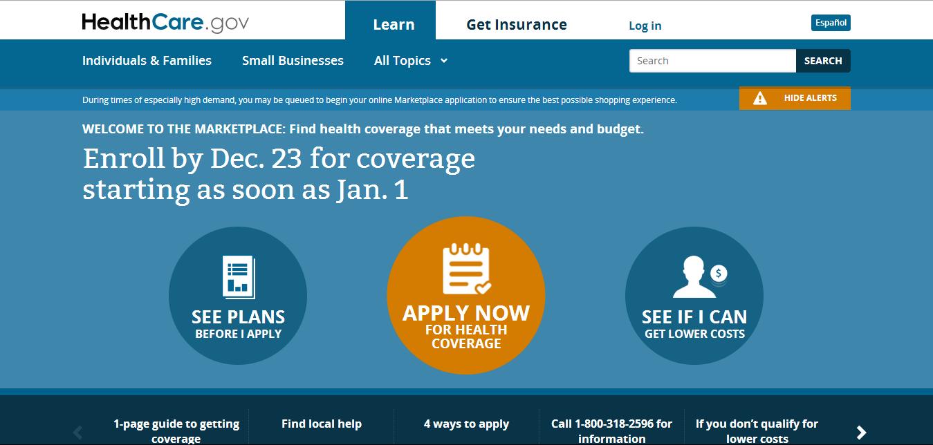 healthcare.gov screen grab