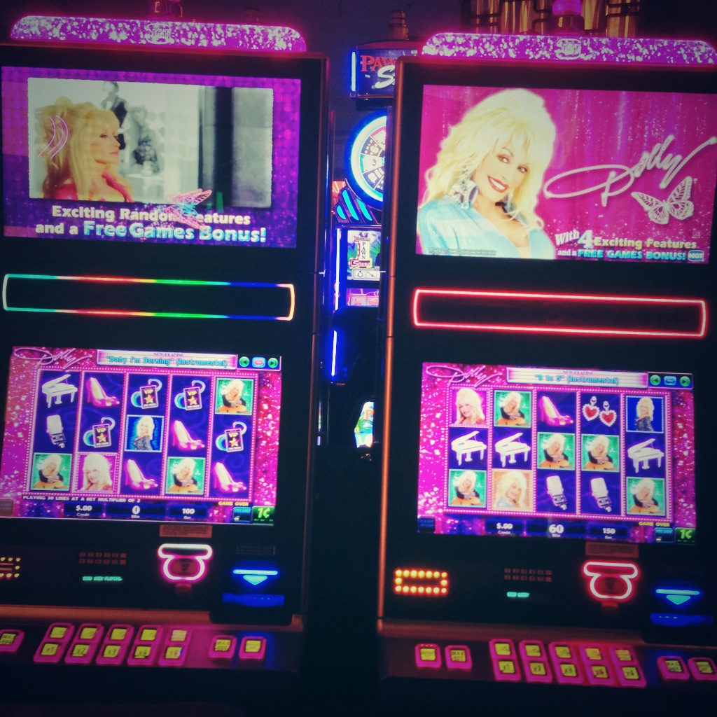 Photo of Dolly Parton slot machine in Las Vegas during ACES 2014