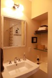 A new guest bath built into the existing hallway.