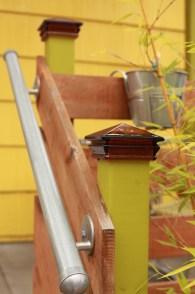 Detail of porch steps hand rail.