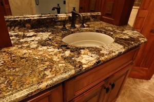 Granite Bathroom Top with Ogee Finishe on the top of the backsplash