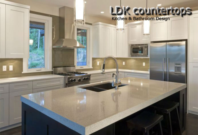 White Recycled Glass Kitchen Countertops