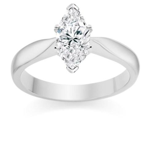 Marquise Cut 1 Carat F IF 18k White Gold Diamond Engagement Ring
