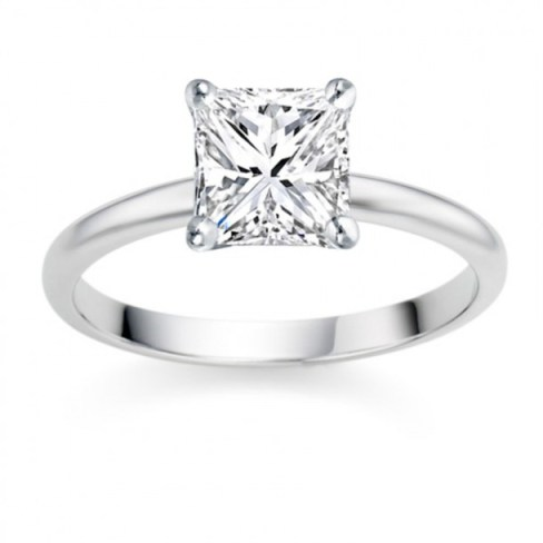 Princess Cut 0.50 Carat F VS1  Platinum Diamond Engagement Ring