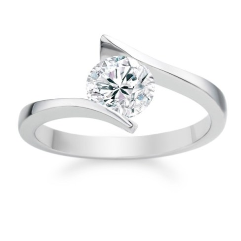 Round Cut 0.40 Carat D VS1 18k  White Gold Diamond Engagement Ring