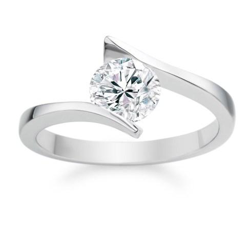Round Cut 0.40 Carat D VS1 18k White Gold Diamond Engagement Ring