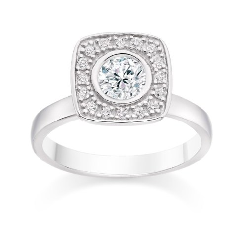 Round Cut 0.61 Carat Halo Engagement Ring with Side Stones in 18k White Gold
