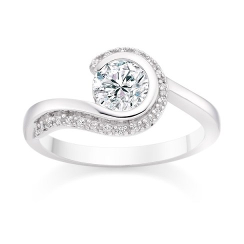 Round Cut 0.65 Carat Side Stones  Engagement Ring in Platinum twirl