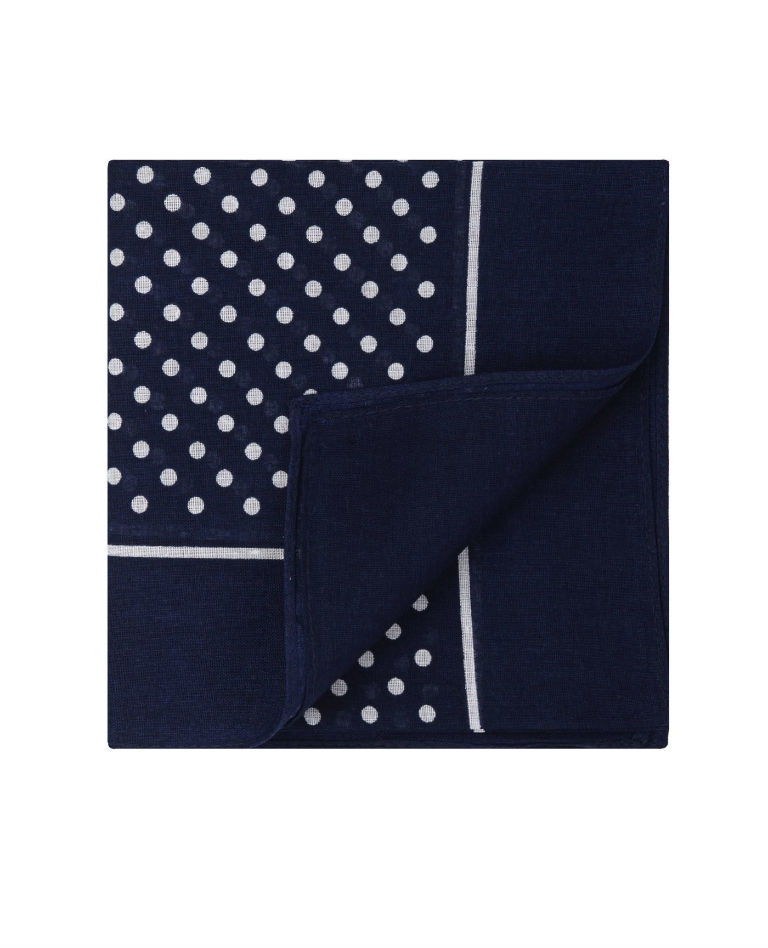 Navy White Cotton Handkerchief